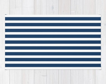 Navy And White Rug, Navy Rug, Striped Rug, Navy Blue Wall Decor,