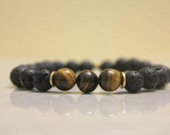 Lava Rock and Quartz Bracelet