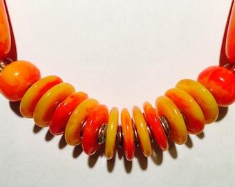 Beaded Necklace; Orange colour, Handmade, Beaded Necklace