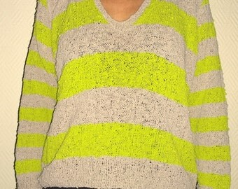 hand- made cotton sweater flashy  green/beige size small 38/40