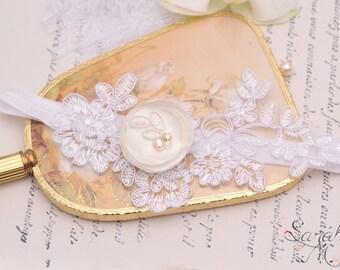 Garter bride Ganssia-Garter-bijoux leg garter lace-silk