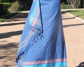 Kikoy Kikoi Sarong - Royal Blue and Turquoise