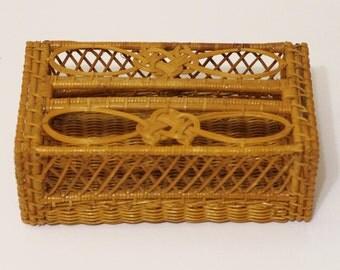 Wicker Tissue Holder - Vintage Rattan Wicker Kleenex Tissue Box Holder