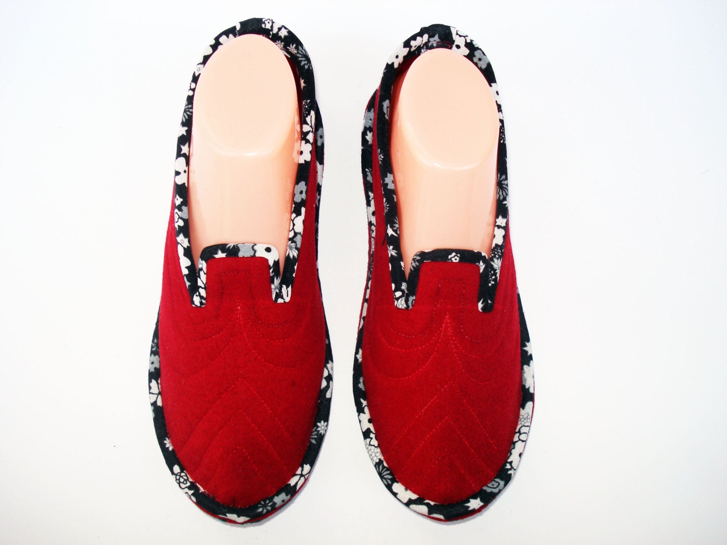 Red Womens Slippers Home Slippers House Slippers Bedroom