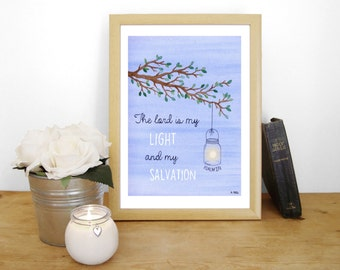 """Watercolour Art Print """"The Lord is my Light and my Salvation"""" - Psalm 27:1 (Christian Bible verse) A4"""