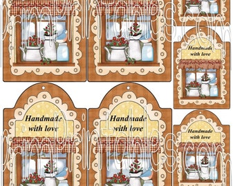 Instant Download Country Printable U Print Digital Hang Tags - HANDMADE WITH LOVE - 2 sizes + 3 FRee PRiNTaBLeS!