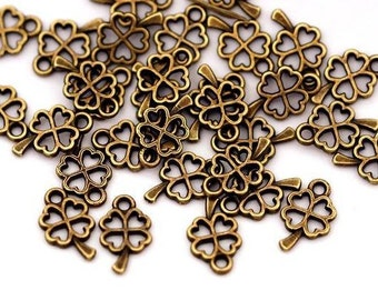 20 PCs mini metal charms-clover leaf 10 mm