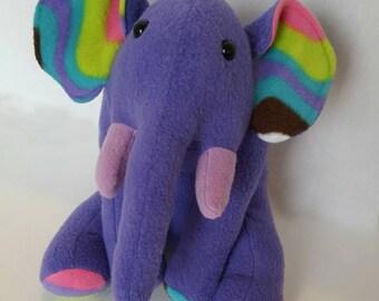 Purple elephant Fleece Plush Toy: stuffed animal softie