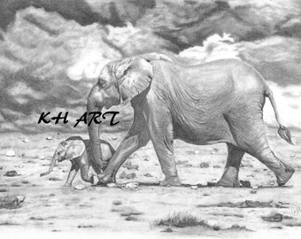 Limited edition fine art print of Graphite drawing 'mother & baby'