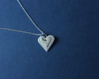Sterling Silver Two Heart Pendant on a 2mm Diamond Cut 22inch Belcher Chain