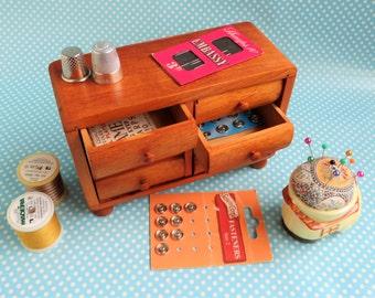 Miniature mid century hardwood chest of drawers