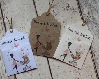 Personalised Baby Shower Invitations Mum and pram-pocket -Insert & Envelope