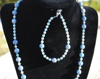 Blue Aqua Glass Bead and Pearl Jewelry Set