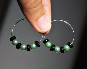 Green Pearl Hoop Earrings