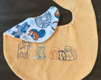 Embroidered forest friends bib (reversible)