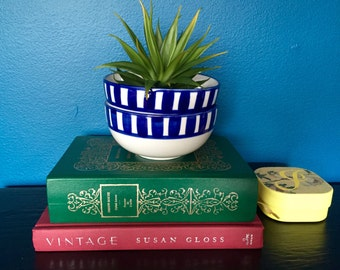 Vintage Mid Century Striped Soup Salad Cereal Ice Cream Bowls / White Bowl with Hand Painted Royal Blue Stripes Dinnerware / Set of 2