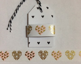 "30"" Gold Foil and Pink Heart Washi Tape Sample"