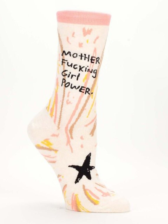 Mother F***ing Girl Power - Women's Crew Socks  - Funny, Cool, Novelty Gifts, Socks, Christmas Gift