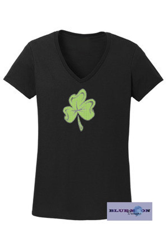 Four Leaf Clover Rhinestone T-Shirt Made to order