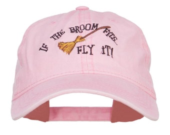 If The Broom Fits Embroidered Washed Cap