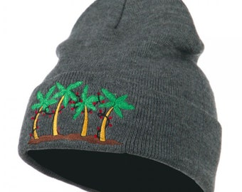Palm Trees Christmas Lights Embroidered Beanie