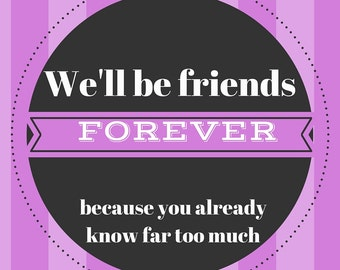 Instant Download Friends Forever print A4 Pink