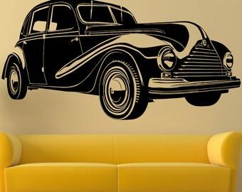 Vintage car silhouette Wall decal, Retro car silhouette, Cars wall decal, Vintage car wall decal, Vintage Style car wall vinyl,  156