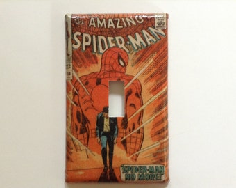 Vintage Marvel Light Switch Covers Spider-Man Fantastic Four Thor Switchplate Decoupage Silver Age Comic Book