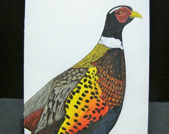 Colorful Pheasant- hand painted Art Card