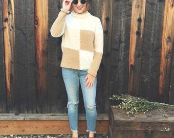 Vintage cozy polyester designer studios originals patchwork mock turtleneck sweater (s)