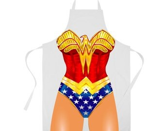 Wonder Woman Apron- Super hero Apron- Comic Kitchenwear- Kitchen Accessories