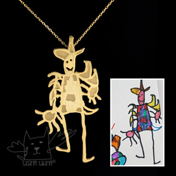 LARGE SIZE Personalized Necklaces From Your Children's Drawings, Kids drawing jewelry & unique gifts from children's art