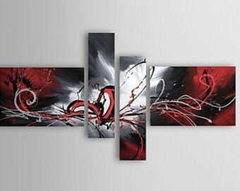Abstract painting, abstract canvas art, abstract art, Painting, Black and Red wall art, large wall art, Davies Art Gallery