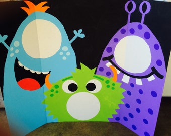 Custom Little Monster Birthday Party Photo Booth 35x44 Large 3 Person Booth *You Pick Colors/Design!*