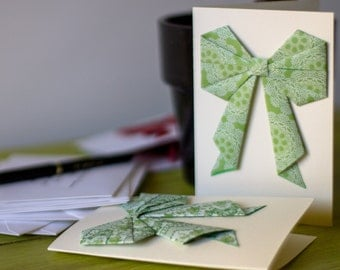 Hand made origami bow card