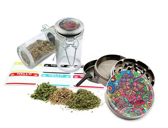 "Ganesha - 2.5"" Zinc Alloy Grinder & 75ml Locking Top Glass Jar Combo Gift Set Item # 110514-0032"