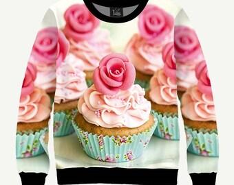 Cupcakes, Cakes, Sweetness, Pink Roses - Men's Women's Sweatshirt | Sweater - XS, S, M, L, XL, 2XL, 3XL, 4XL, 5XL