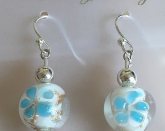 Blue and Pink Flower in Glass earrings