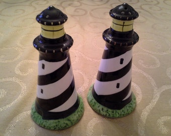 Vintage Lighthouse Salt and Pepper Shakers