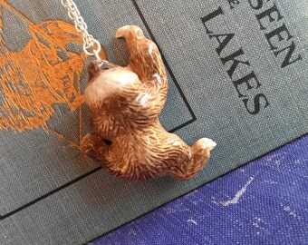 gorgeous sloth necklace, gift for your quirky friend