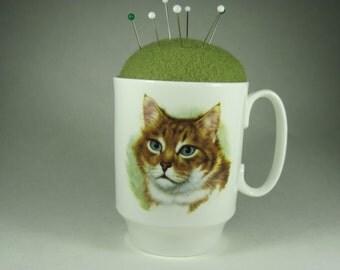 Cat Pincushion in Royal Windsor Bone China Mug
