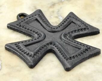 Black Cross, Antiqued Cross, Decorative Cross, Large Cross, Cross Pendant, Maltese Cross, Artisan Cross, Religious Cross, Cross Charm