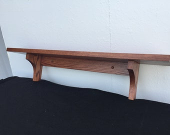 Wood Wall Shelf-Wall Shelf- in Solid Oak Wood Mission Style with Cherry Finish (or Choose other Finish) by Udecorit