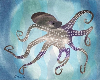 Octopus - Watercolor Modern Art Print