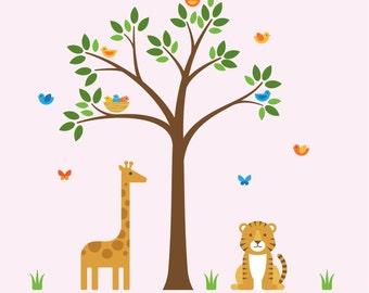 Tree Animals Decal, Tree Animals, Tree Wall Decal - Large