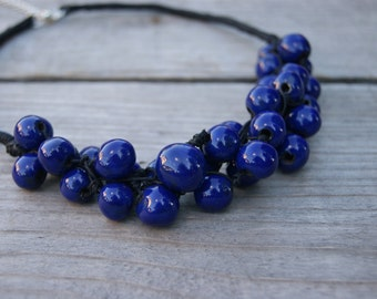 Navy blue ceramic necklace, beaded necklace, Handmade Ceramic, dark blue beads, dark blue necklaces, necklace for evening dress,