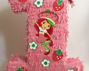 Large Strawberry Shortcake Number 1 Pinata First Birthday