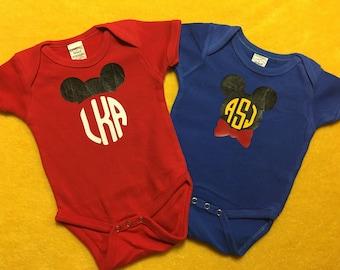 Disney Inspired Baby Boy Monogrammed Onesie