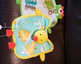 Crochet Fleece Lovey // Baby Blanket // Crochet Fleece // Crochet Animal // Crochet Duck // Crochet Monster