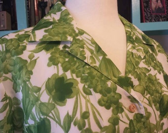 60s Olive Lime Floral Screenprinted Polyester Short Sleeve Button Down AC